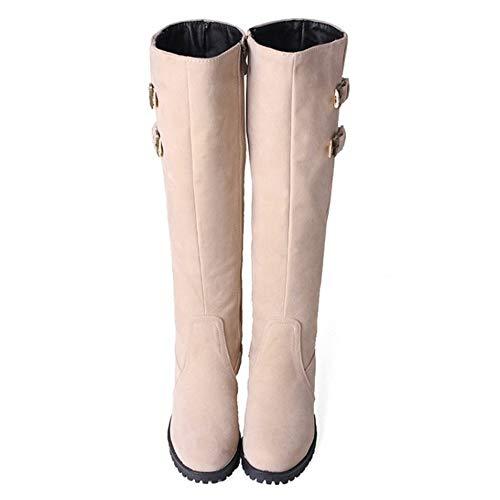 Hautes Hiver Chaudes Beige Eclair Femmes warm Chevalier Bottes De Boots Taoffen Fermeture wqRI5T