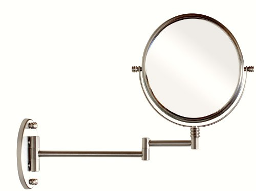 DecoBros 8 Inch Two Sided Swivel Wall Mount Mirror With 7x Magnification 135 Inch Extension Nickel