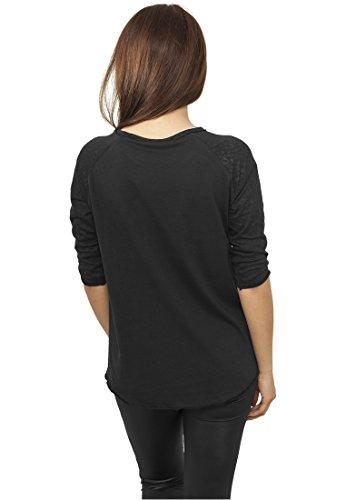 Urban Classics Ladies 3/4 Sleeve Wide Burnout Tee Black