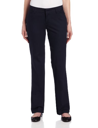 Dickies Women's Relaxed Straight Stretch Twill Pant, Navy, 16 Regular