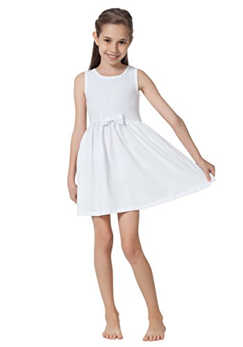 CAOMP Girls Casual Sleeveless Swing Dress, Organic Cotton,