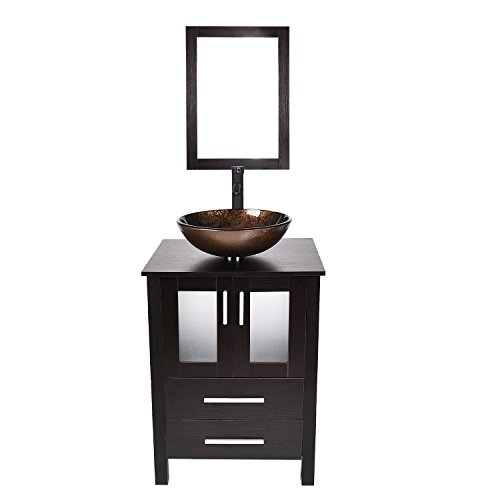 24-Inch Bathroom Vanity, Modern Stand Pedestal Cabinet, MDF Wood Dark Brown Fixture with Mirror, Brown Glass Sink Top with Single Faucet Hole