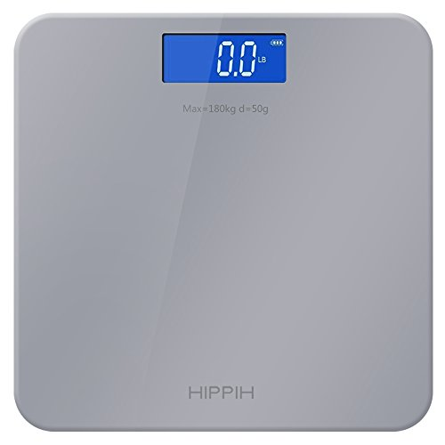Hippih Digital Body Weight Bathroom Scale with 400 lb Weight Capacity Measures Weight Easy-to-Read Back light LCD Glass AAA 009 (Silver)