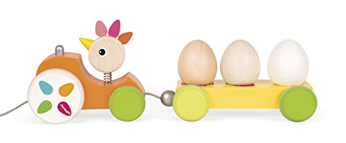 Janod Zigalos Pull Along Tractor Hen Baby Toy by Janod (Image #5)