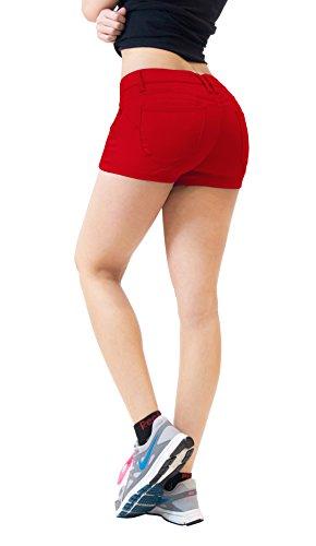HyBrid & Company Womens Butt Lifting Twill Denim Shorts-SH43308-RED-9 ()