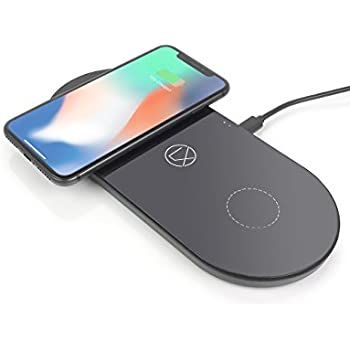 LXORY Dual Wireless Charging Pad - Double Qi Charger For Two Phones Works With Apple iPhone X, iPhone 8 (Plus), Samsung Note 8 / S8, S7, S6 Series And All Other Qi Ready Phone Models (Black)