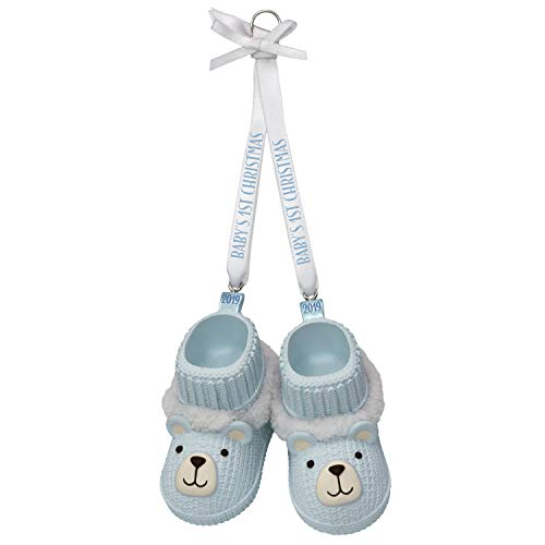 Boy Teddy Bear Ornament - Hallmark Keepsake Ornament 2019 Year Dated Baby Boy's First Christmas Blue Teddy Bear Booties,