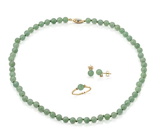 Regalia by Ulti Ramos 14K Gold Genuine Imperial Jade 3 Piece Set, Earrings Necklace and Ring Set with .05cts of White Diamonds 18