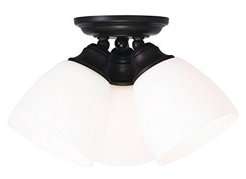 Livex Bronze Flush Mount Light Fixture (Livex Lighting 13664-07 Somerville 3-Light Ceiling Mount, Bronze)