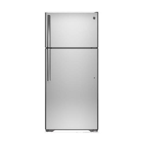 Ge REFRIGERATORS 2492134  17.5 Cu. ft. Top Freezer Refrigerator, Stainless Steel, Reversible Door Swing
