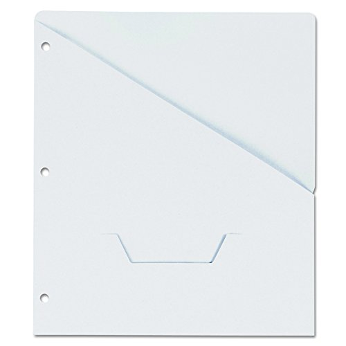 (Universal Slash-Cut Pockets for Three-Ring Binders, Jacket, Letter, 11 Pt., White, 10/Pack)