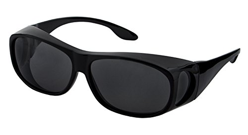 LensCovers Sunglasses Wear Over Prescription Glasses - Medium Size Polarized (Black) Polarized