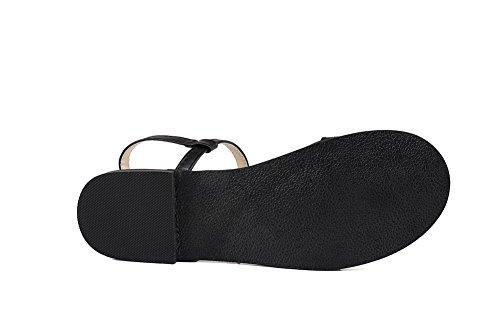 Femme Cuir Boucle Noir d'orteil Ouverture Couleur PU Sandales AalarDom Unie dTRq5nHwx