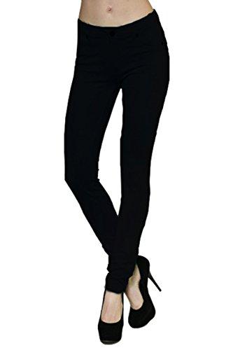 Ponte Skinny Pant - Active USA 5 Pockets Skinny Ponte Pants  Large ,Black