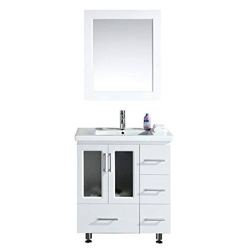 - Design Element Stanton Single Drop-In Sink Vanity Set with White Finish, 32-Inch
