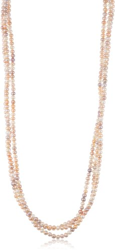 """Peach and Mauve Freshwater Cultured Pearl Endless Necklace (5-5.5mm), 100"""""""