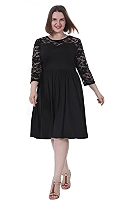 Sapphyra Women's Plus Round Neck 3 4 Sleeve Pleated Lace Midi Dress Size 1X-5X