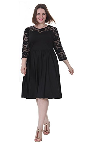 [Sapphyra Women's Plus Round Neck 3 4 Sleeve Pleated Lace Midi Dress Size 1X-5X (5X, Black)] (Plus Size Evening Wear)