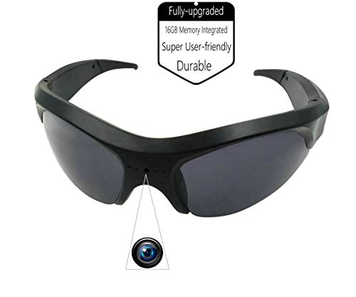 Igreeman IGM-GLASS16G-1080P Covert Sunglasses Action Camera, Black, Multi-Head Size fit