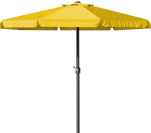Sombrilla de playa, color amarillo-sombrilla de jardín o terraza-Parasol con manivela 350 cm: Amazon.es: Jardín