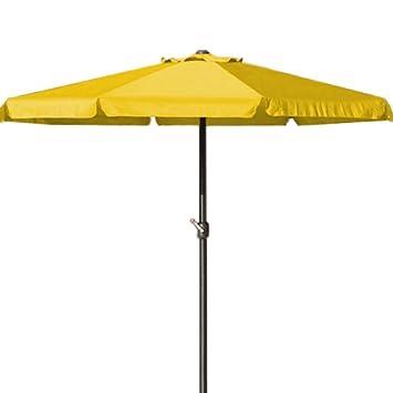 Deuba Parasol Jaune   Ø 330cm   Protection Soleil   avec manivelle