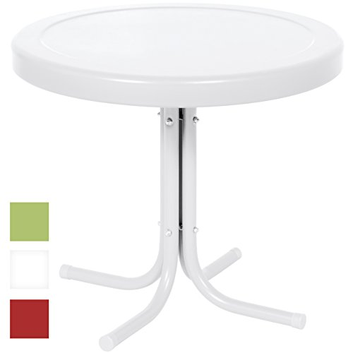 Best Choice Products 22in Modern Round Metal Side Table w/UV and Weather Resistant Finish – White