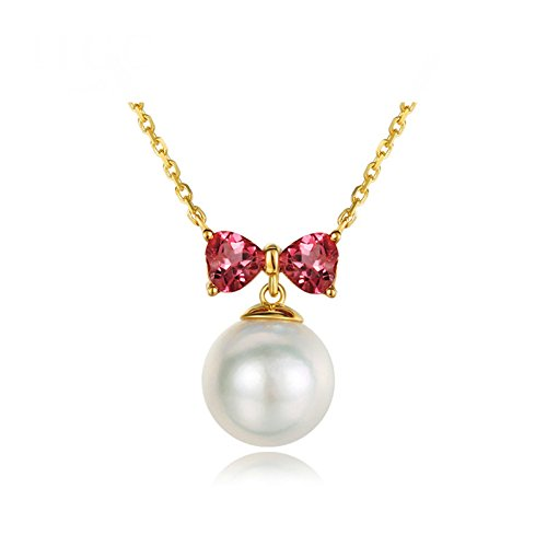 Daesar 18K Gold Necklace For Women Butterflies And Pearls Cubic Zirconia Red Necklace Chain Length: 40CM by Daesar