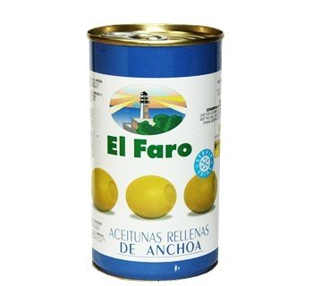 El Faro Olive Stuffed with Anchovy 12 oz Imported from Spain El Olive