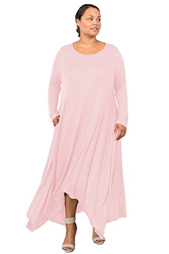 Love In D6190C-PX Long Sleeve Round Neck Flared Maxi Dress W/Pocket Blush 3X by Love In (Image #7)