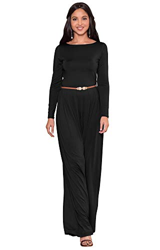 KOH KOH Women Long Sleeve Sleeves Wide Leg with Belt Formal Elegant Cocktail Party Fall Pant Suit Pants Suits Jumpsuit Jumpsuits Romper Rompers, Black L 12-14 (2) by KOH KOH