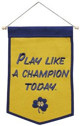 "Notre Dame Fighting Irish NCAA Play Like A Champion Today"" Wool 12"" X 18"" Mini Banner"