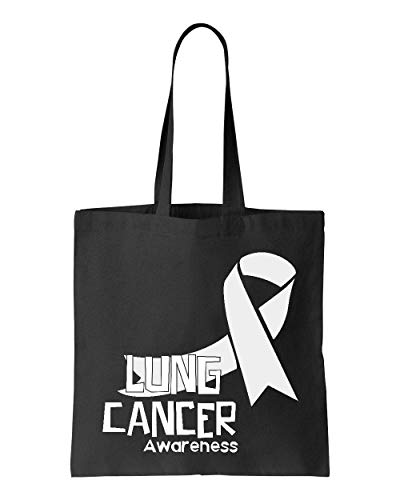 Lung Cancer Awareness Ribbon Support Tote Handbags Bags for Work School Grocery Travel (GSB)