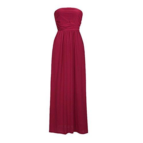 Pandada Tube Robe Maxi Ceinture De Couleur Unie Sans Bretelles De Femmes De Mode Taille Plus Confortable Couvrir Haut Sundress Longue Jupe Rouge Vin