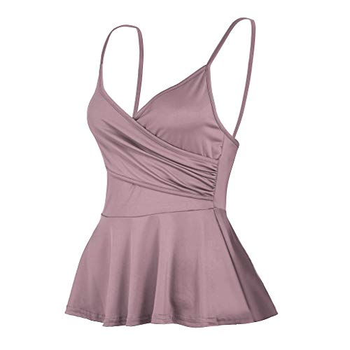- NUWFOR Summer Women's V Neck Solid colorSling Casual Vest Sexy Tank Tops (Pink,US XXL Bust:29-38.5