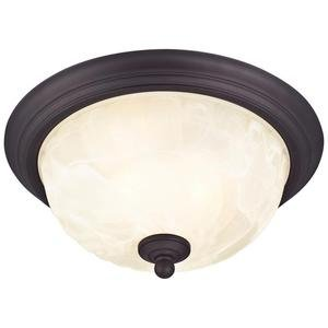 "Westinghouse 62309 - 2 Light (Medium Screw Base) 13"" Naveen Flush Mount Oil Rubbed Bronze Finish on Steel with White Alabaster Glass Ceiling Light Fixture"