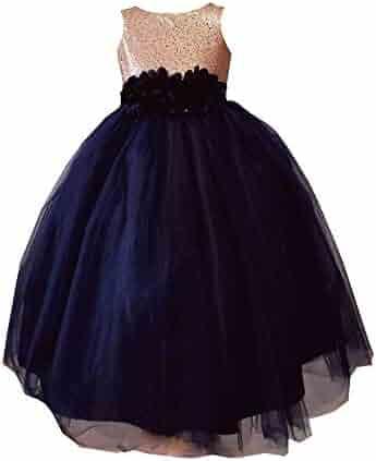 b0331b135 Sinai Kids Little Girls Navy Blue Champagne Sequin Tulle Flower Girl Dress  2-6
