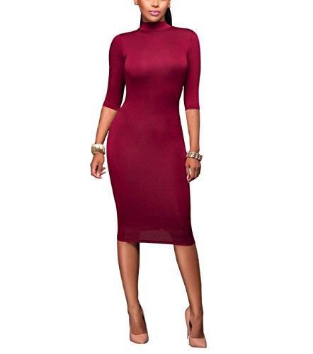 Las Mujeres Atractivas Una Línea Floja Medio De La Manga Del Color Sólido De Cuello Redondo Vestido Apretado winered