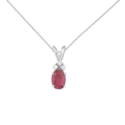 FB Jewels Solid 14K White Gold Genuine Birthstone Oval Ruby Pendant with Diamonds (0.95 (Genuine Red Ruby Oval Pendant)