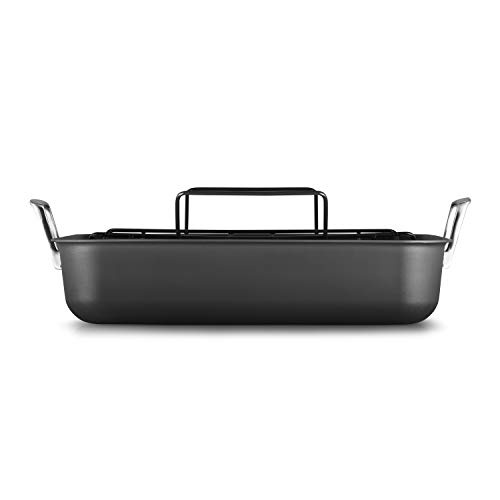 (Calphalon 2029653 Premier Hard-Anodized Nonstick 16-Inch Roaster with Rack, Black)