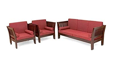 Woodkartindia Indian Look Teak Wood Sofa Set With Cushion 3 1 1 For