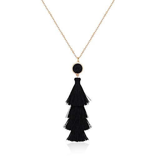 Seni Layered Tassel Pendant Necklace Bohemian Tiered Thread Fringe Necklace Long Necklaces for Women Girls(Black)