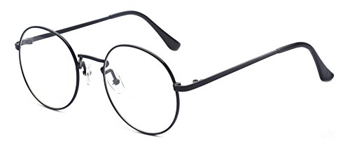Outray Retro Round Metal Clear Lens Glasses 2136c1 Black - Mens Round Glasses