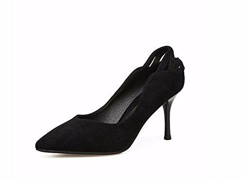 FLYRCX Zapatos de Tacón negro fino suede talón único único Zapato Zapato zapatos temporada primavera y otoño,40 39