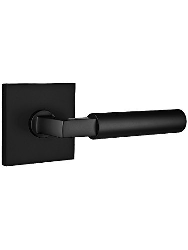 Square Rosette Door Set with Hercules Levers Right Hand Passage in Matte Black (Emtek Solid Brass Lever)