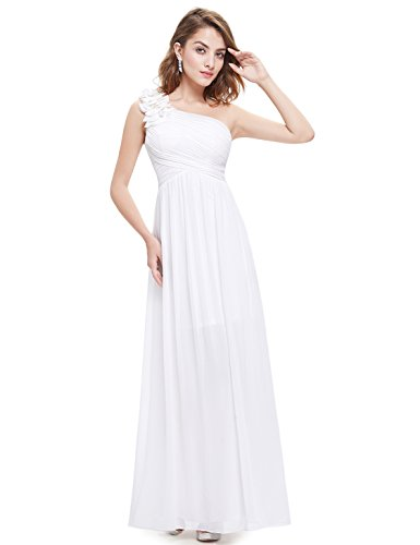 Ever-Pretty Womens Flower Chiffon Floor Length Evening Dress 6 US White