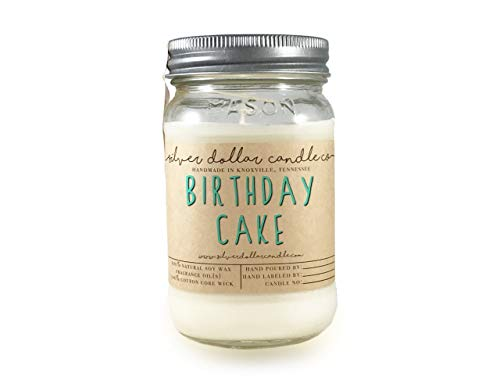 Birthday Cake Scented Candle 16oz Mason Jar candle Cake Scent Birthday gift Soy Wax -