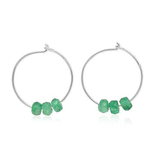 14K White Gold Natural Emerald Beads Hoop Earrings For Women (12 MM) (white-gold, emerald)