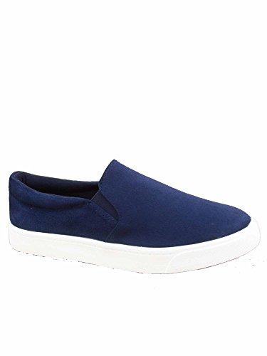FZ-Reign-s Women's Fashion Classic Slip On Flat Heel Round Toe Sneaker Deck Shoes (7.5 B(M) US, Navy)
