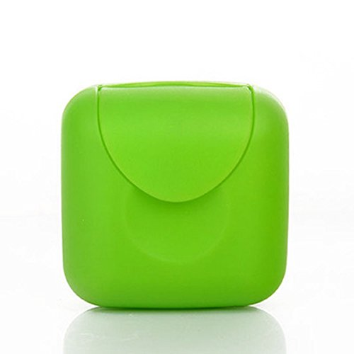 Mini Small Plastic Travel Buckle Lid Portable Soap Case Holder Container Box Home Outdoor Hiking Camping Travel Portable Tools (Green)