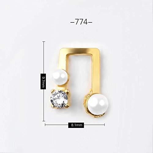Nail Decoration Kits - Nail Design Stickers - Nail Art Rhinestones, 5PCS Charm Nail Decorations Metal Alloy Rivets Shiny Crystal Jewelry Rhinestones 24 Kinds Of 3D Manicure Accessories - Shape 74 ()